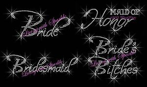 BRIDESMAID-RHINESTONE-IRON-ON-TRANSFER-FOR-SHIRT-HOTFIX