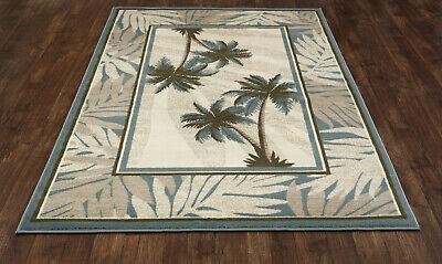 Tropical Coastal Island Beach Palm Indoor Outdoor Area Rug **FREE SHIPPING** ()