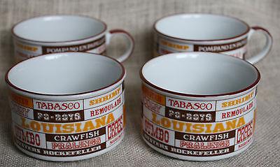 - VTG Set 4 New Orleans Louisiana Style GUMBO Bowls Tabasco Beignets Po-Boys