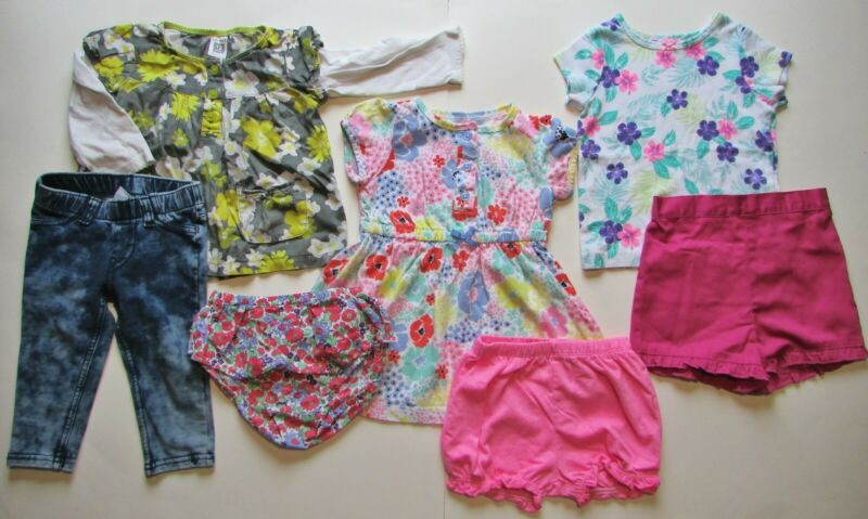 12m Baby Girl Clothes Lot Of 7 Assorted Mixed Brands Spring/summer/fall Euc