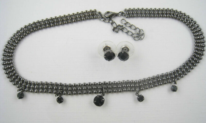 Vintage Style Dangling Silvertone Black Rhinestone Choker Necklace and Earrings