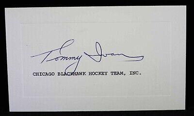 Tommy Ivan HOF Signed Autograph Index Note card stamped c. 1970 Black Hawks GM