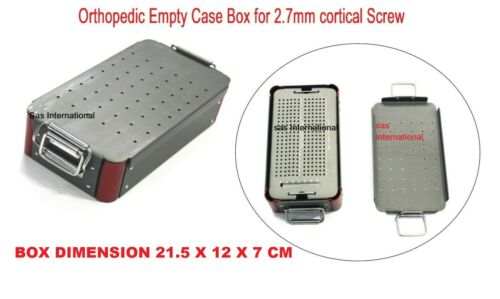Orthopedic Empty Case Box For 2.7 mm Cortical Screw Surgical Instruments