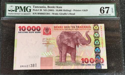 TANZANIA  10,000 SHILLINGS.  P-39  2003, ELEPHANT,   PMG 67  SUPERB GEM UNC