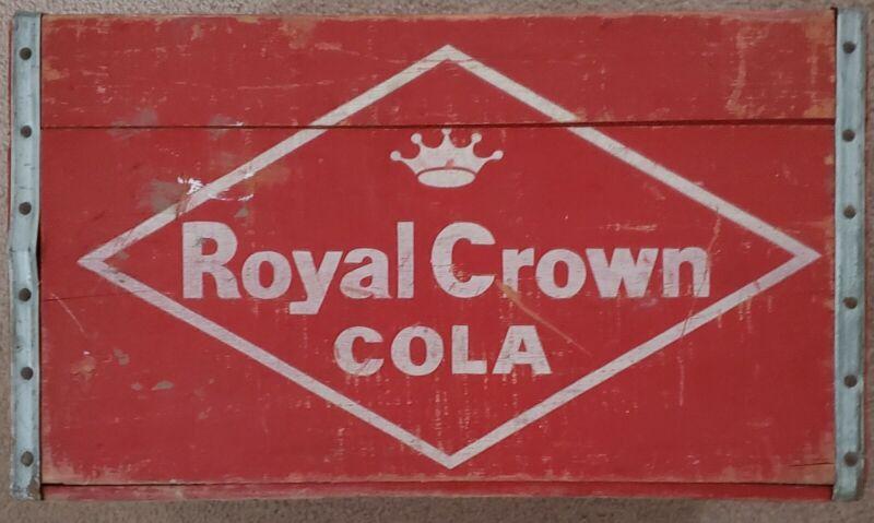 1957 ROYAL CROWN COLA Saginaw Michigan MI soda wood box bottle holder case crate