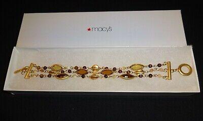 "Lauren Ralph Lauren 8"" Gold Tone Gold-Colored Stones 3 Strand Toggle Bracelet"