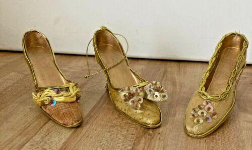 "3 Gold High Heel Shoe Christmas Ornaments 5"" Sequin Embellished IOB"