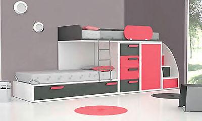 Hochbett Doppelhochbett Etagenbett mit Kleiderschrank Schubladen Treppe 25 Farbe (Etagenbett Schlafzimmer-sets)