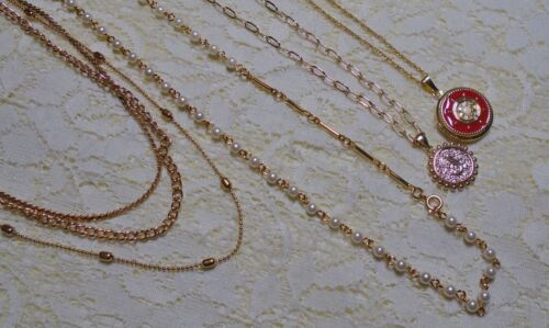 ASSORTED GOLD TONE MULTI STRAND & FAUX PEARL PENDANT CHAIN NECKLACE LOT