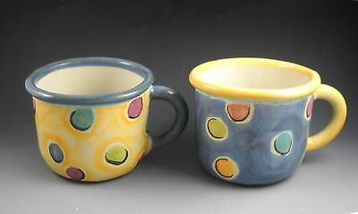 Artisan Made Over the hill Terra Cotta Coffee Mugs Yellow and Blue Polka Dot Design