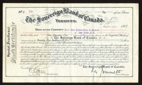 Sovereign Bank of Canada, 1/4 Share, $25 Face