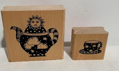 Paula Best SKY TEAPOT & CUP Tea Sun Stars Collage Wood Rubber Stamp Lot of (Best Teapot For Tea)