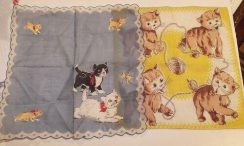 2 Pc. Vintage Handkerchief LOT Hankies Playing Kittens, Kitty, Kitties, Cats,