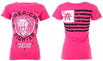 AMERICAN FIGHTER Womens T-Shirt COLUMBIA Athletic HOT PINK Biker USA FLAG $40 - Hot Female Bikers