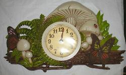 Vintage Retro Mushrooms Ferns New Haven Quartz Kitchen Wall Clock Made in USA
