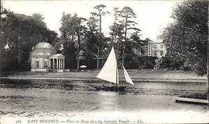 East Molesey. View on River & Garrick Temple # 585 by LL / Levy. Black & White.