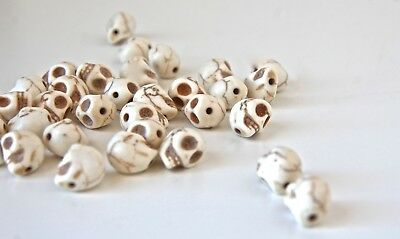 Day of the Dead 10mm Bone White Faux Howlite Skull Beads 20 Pieces per (Dead Beads)