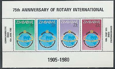 ZIMBABWE, Sc #432a, MNH, 1980, S/S, Rotary International, 75th Ann., OR017F