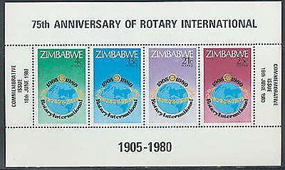ZIMBABWE Sc #432a MNH 1980, S/S, Rotary International, 75th Anniversary