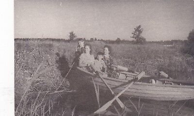 1950s Women with boy & girl in boat on the river old Russian Soviet photo