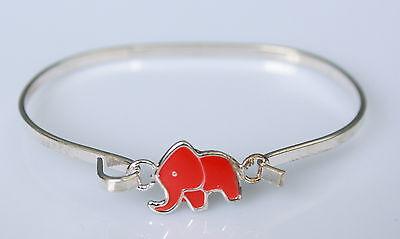 Kinder Armband Armreif Armreifen silberfarben Elefant rot