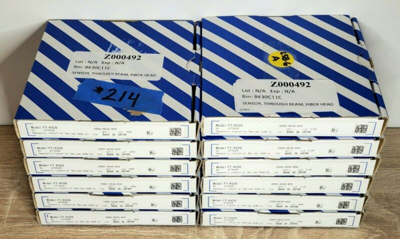 Lot of 12 NEW Panasonic SUNX FT-KV26 Narrow Thru-Beam Fiber Optic Sensor