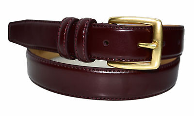 - 0211-Toneka Men's Cordovan Navy Tan Feather Edge Leather Belt Solid Brass Buckle