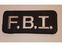 "Embroidered Patch 2/"" x 4.25/"" Tactical Black FBI F.B.I"