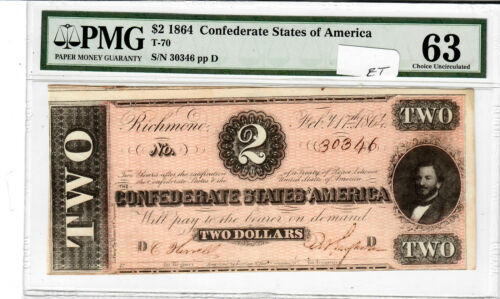 $2 1864 Confederate States note T-70 PMG 63 Choice Uncirculated