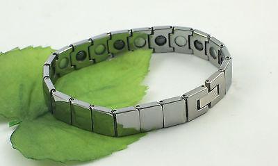 Gatik Gents BR1026 Magnetic Faceted Rectangular Link Tungsten 8'' Bracelet