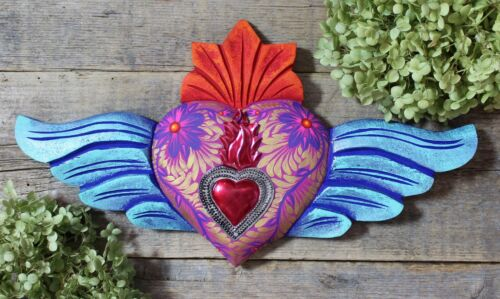 #4 Winged Wood Sacred Heart Hand Carved & Hand Painted Mexican Folk Art LOVE