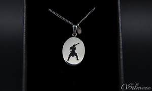 024 100%reversible natural black onyx sterling silver samurai pendant