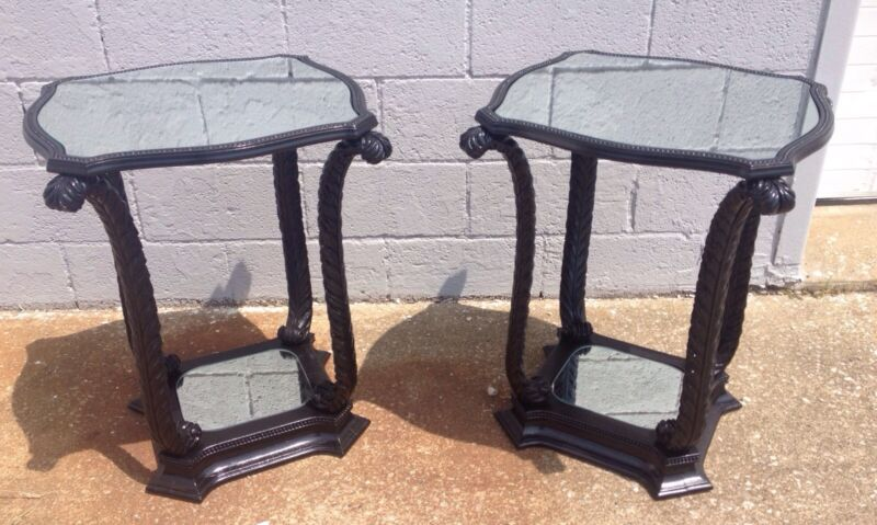 Pair Of Mid Century Hollywood Regency Black Lacquer Mirrored End Tables