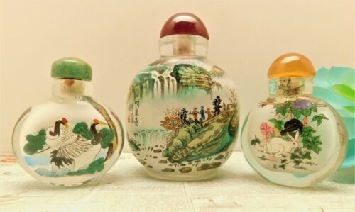 VINTAGE REVERSE HAND PAINTED GLASS CHINESE SNUFF - PERFUME BOTTLES