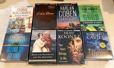 Lot of 8 UNABRIDGED Audiobooks on CD by KOONTZ, COBEN, ROBB, PRESTON & CHILD Etc