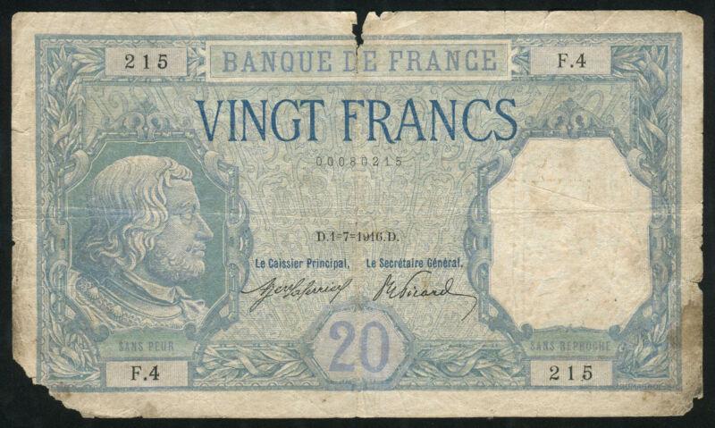 FRANCE - 20 Francs 1916 Banknote Note - P 74 P74 (damaged)
