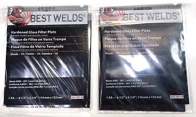 Shade 10 Welding Filter Plate 4.5 X 5.25 Hardened Glass Lens For Welding 2 Pack