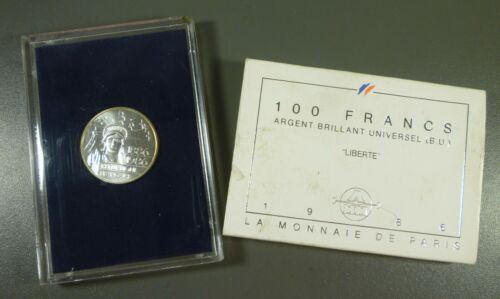 France 1986 100 Francs Silver Coin BU With Case & COA Free Shipping!