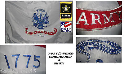 *USA MADE HEAVY DUTY 3x5 US ARMY EMBROIDERED&SEWN 600D 2PLY/SIDED FLAG BANNER