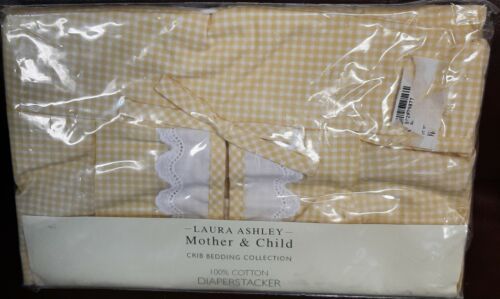 NEW in Package LAURA ASHLEY Yellow Gingham Eyelet Diaper Stacker Infant Girl