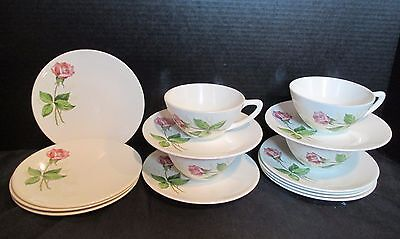 Vintage Knowles Tea Rose Pink 4 Bread & Butter, 4 Cups, 7 Saucers