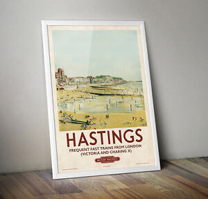 Vintage Railway Travel Poster - Hastings- A4