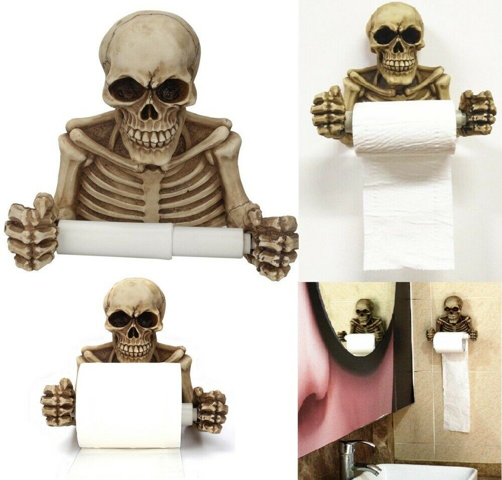 Skull Toilet Paper Towel Roll Holder Wall Mount Dry