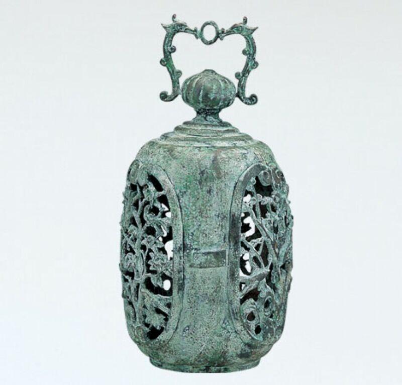 Toro Japanese Bronze Hanging Lantern Takaoka Craft Ume plum motif 5912 Japan
