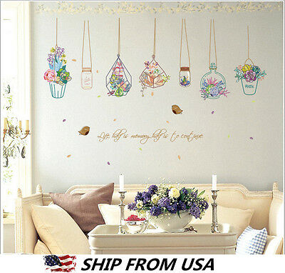Flowers Potted Machinery Wall Stickers Living Room Home Window Decor Creative Decals