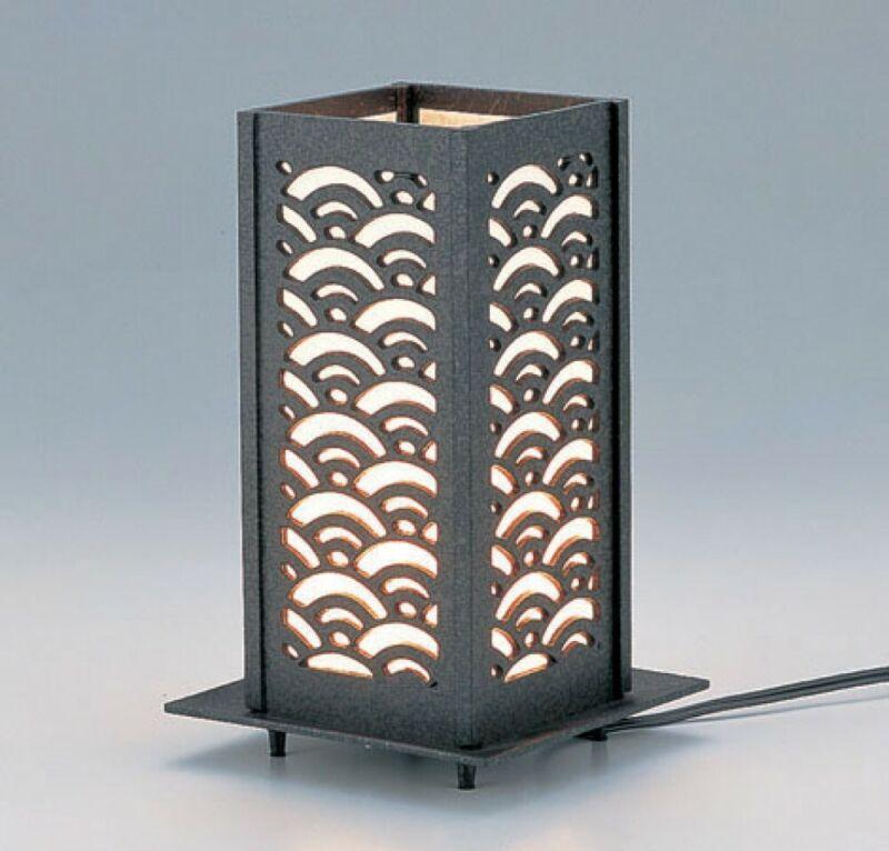 Electric Andon Japanese iron Lamp Lantern Seigaiha Tkaoka craft 17209 Japan