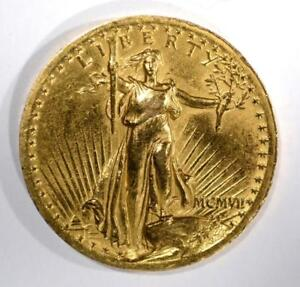 1907 $20 HIGH RELIEF ST GAUDENS GOLD Lot 328