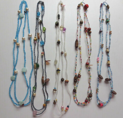 """LOT OF 5 GLASS WOOD METAL PLASTIC ASSORTED BEAD CONTINUOUS NECKLACES 52""""-54"""" L52"""