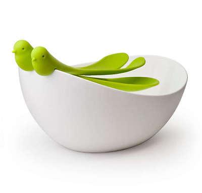 QUALY Salatschüssel & Salatbesteck Spatzen NEU/OVP Salat Schale +Besteck Löffel