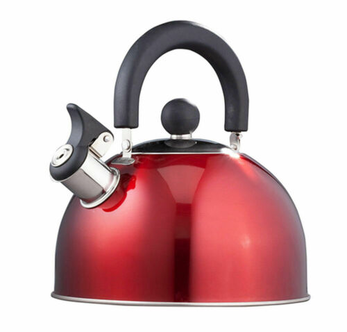 Stainless Steel Whistling Kettle 2.5qt/2.37l Hot Water Tea Stovetop Red